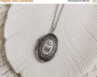 VACATION SALE Silver Owl Locket Necklace