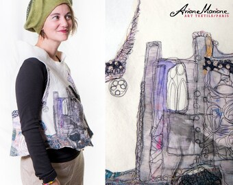 Wearable art hand felted women vest - Paris designer vest piece unique  - reversible - convertible into boléro - ecofriendly - warm cozy