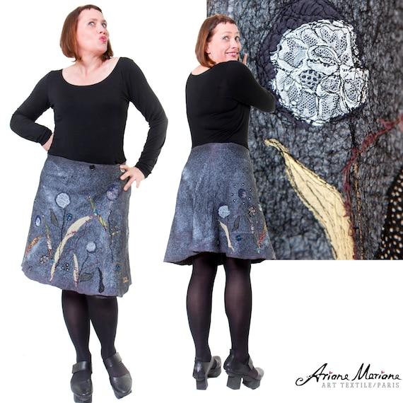 Felt Art Skirt Outstanding Unique Floral Design - Reversible Art Garment Silk Merino Wool - Upcycling Ecofriendly Made in Paris Design
