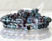 Blue Purple Hurricane, Czech Beads Fire Polished 4mm 50 Faceted Round GLass