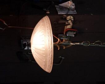 Antique Ceiling Light, Vintage Bowl Fixture, Hanging Light, Frosted Bowl Light