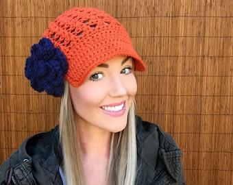 Denver Broncos Orange Cap w/ Visor & Navy Blue Detachable Flower Colorado Brim Crochet Football Accessory Hat Knit Accessories Beanie