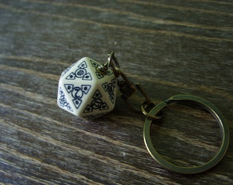 steampunk key chain D20 dice keychain dungeons and dragons dice accessories steam punk rpg geek geekery key chain gold golden