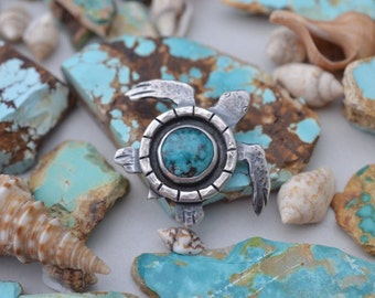 Handmade Sea Turtle Necklace Sterling Silver and Turquoise