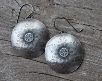 Sterling Silver Snowflake Earrings Handmade  Free Priority Shipping in US