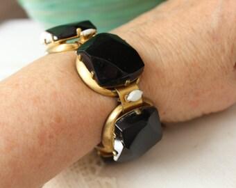 Chunky Statement Bracelet Black Glass Link VINTAGE by Plantdreaming
