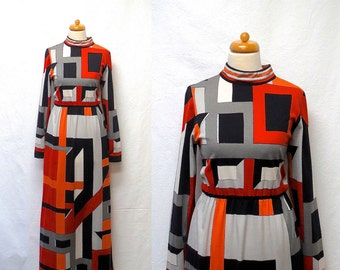 1970s Vintage Paganne Maxi Jersey Dress / Orange Black Grey Geometric Gene Berk Dress