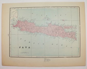 Vintage Map of Java, East Indies Island of Java Map 1900 Vacation Gift idea, 1st Anniversary Gift for Couple, East Indies Travel Map