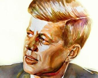 JFK, John Kennedy portrait of U.S. president, print from original watercolor portrait. Watercolor ART