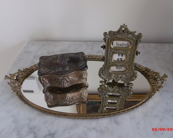 Vintage Matson Ormolu Vanity Tray Mirror Tray Birds Hollywood Regency Made in USA