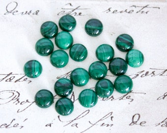 Round Malachite Cabochons - 6mm, or 8mm Loose Semi-Precious Gemstones