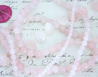 Lot of Rose Quartz Bead Strands - 4mm, 6mm, & 8mm Smooth Rounds and Faceted Pear Shapes - Quartz Beads