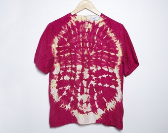 Upcycled Vintage Silk Blouse - Shibori - Oni-Wear - Medium - M -
