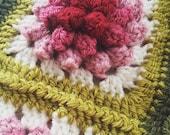 Crochet pattern, easy crochet blanket pattern, pdf crochet pattern, crochet flower pattern, crochet baby blanket pattern, english, deutsch