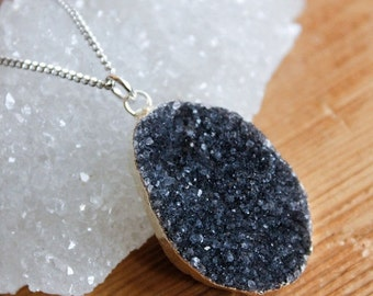 ON SALE Silver Black Druzy Necklace - Choose Your Stone - 925 Silver, Free Form