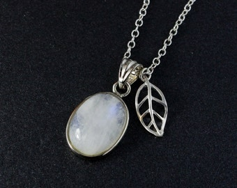 Leaf Charm Rainbow Moonstone Necklace – 925 Sterling Silver