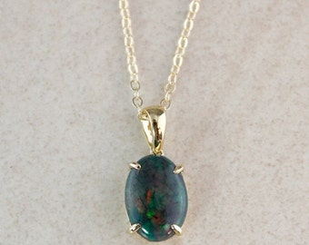 MOTHERS DAY SALE Australian Opal Pendant Necklace - 10Kt Gold - Gold Fill