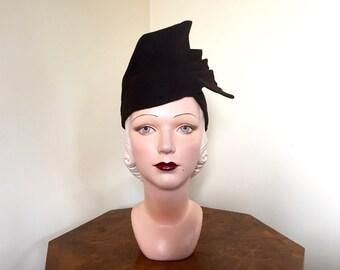 Vintage 1930s hat Fabulous soft brown tall fur felt hat by Marten Model