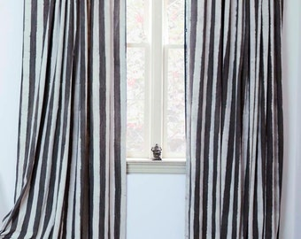 "Window Curtains Charcoal brown STRIPE - ONE panel 57"" x 84"" / 96""/108"" Hand Block Printed with Natural dyes, Cotton, Window Treatment *SALE*"