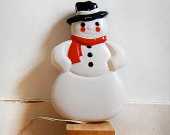 Vintage Snowman Light Blow Mold Plastic Hanging Wall Christmas Winter Lamp.