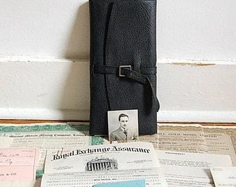Vintage Insurance Document Folder 1930s Binder Insurance Receipt Ledger Folder Documents Paper Ephemera Lot Handwritten Original Receipts.