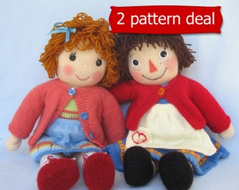 Belinda Jane and Merrily Ann (Raggedy Ann) - doll knitting patterns - INSTANT DOWNLOAD -