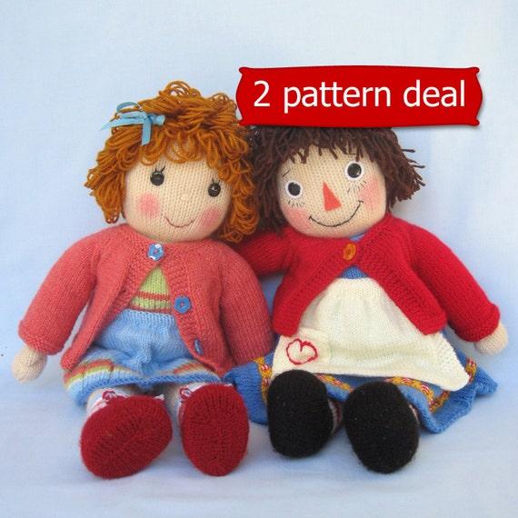 Belinda Jane and Merrily Ann (Raggedy Ann) - doll knitting patterns - INSTANT DOWNLOAD -