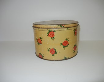 Small Vintage Round Tin Canister Red Roses Vanity Bathroom Bedroom Decor