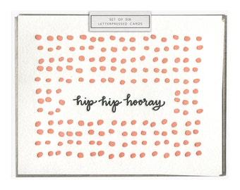 Hip Hip Hooray letterpress card - set of six