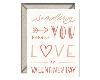 Sending Love valentine's day letterpress card