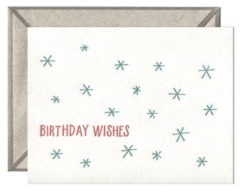 Birthday Wishes letterpress card - single