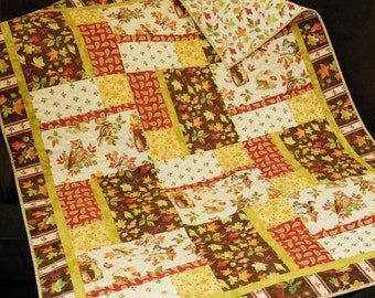 Fall Quilt with Woodland Animals and Autumn Leaves, Quilted Sofa Throw, Owls and Squirrels, Fall Leaves, Fall Home Decor