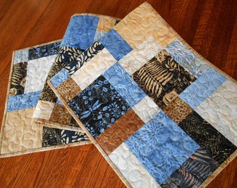 Batik Table Runner in Blue Gold Brown and Black, Modern Quilted Batik Table Runner, Island Batik French Roasted, Dragonfly Table Runner