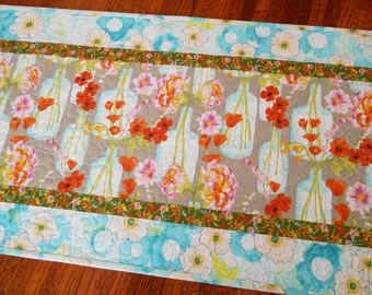 Spring Floral Quilted Table Runner with Aqua Grey Pink Orange Flowers, Quilted Table Topper, Dining Table Decor, Dresser Runner, Tablecloth