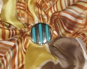 Vintage Silver Tone Scarf Ring - Bright Blue Painted Stripes - Round Shape, Striped Look - Scarf Clip/Costume Jewelry