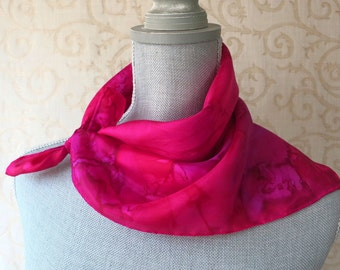 Hand Dyed Square Silk Scarf Bandana in Rose and Fuchsia