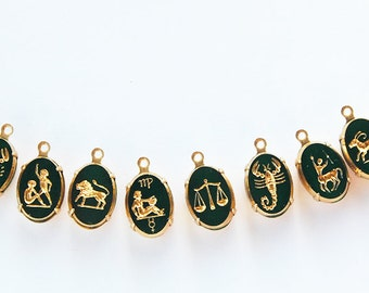 Vintage Glass Zodiac Oval Pendants Astrology Full Set Emerald Green 10x14mm