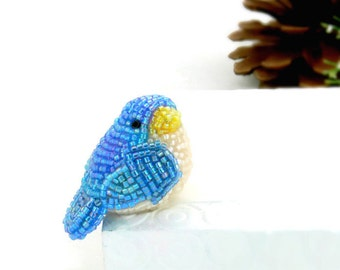 Bluebird Figurine Bluebird Of Happiness Miniature Beaded Bird Decoration Animal Totem *READY TO SHIP
