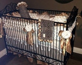 Ivory 3D Petals, Leopard, and Gold Crib Bedding SWATCH SET, Make sure fabrics are exactly what you want before you order!