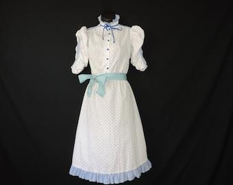 blue dot prairie dress 70s gingham high neck country sweetheart dress medium