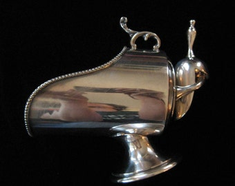 Silver Plated Sugar or Salt Scuttle and Scoop Made in England