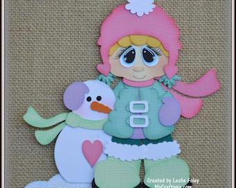 Girl Snowman Christmas Premade Scrapbooking Embellishment Paper Piecing