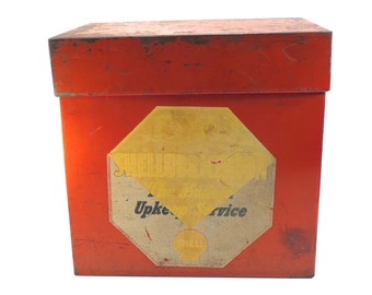 Shell Service Station Shellubrication Service Cabinet Vintage 1940s 1950s Metal Shell Gas Station File Box