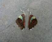 Colorful Butterfly Wing Earrings, Cruelty Free, Earthy Organic Jewelry, hippie boho gypsy Bohemian Jewelry, Unique Gift, BW067