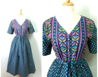 1950s Dress - Green Pink Floral Print Tulip Cotton Day Dress Border Print L XL