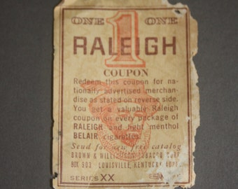 Vintage Raleigh Coupon Paper Ephemera Circa 1976