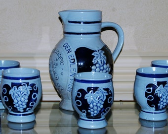 West German Made Stone Wine Jug and Service for 5 Drink Noble Wine of Cool Stone