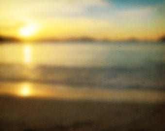 """Ocean Photography, Sunset """"Fading Light"""" Beach Water Photograph. Affordable Wall Art, Home Decor, Vacation, Tropical"""