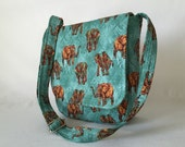 Messenger Bag Ipad Bag Travel Bag Hipster Cross Body Adjustable Strap Vera Bradley Type Animal Print Elephants Brown Gold Turquoise