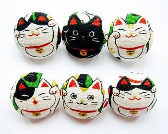 Sewing Buttons / Fabric Buttons - 6 Medium Fabric Buttons Set - Maneki Neko